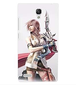 ColourCraft Warrior Girl Design Back Case Cover for XIAOMI REDMI NOTE 4G