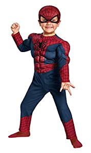Disguise Marvel The Amazing Spider-Man 2 Movie Spider-Man Toddler Muscle Costume, Medium/3T-4T