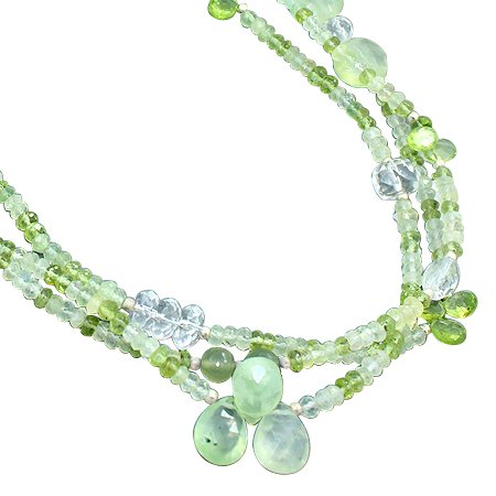 925 Sterling Silver Artisan Prehnite White Topaz Peridot Gemstone Beads Strand Necklace Size 18 Inches