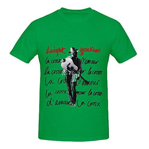 Dwight Yoakam La Croix Damour Hits Men Round Neck Cotton T Shirt Green