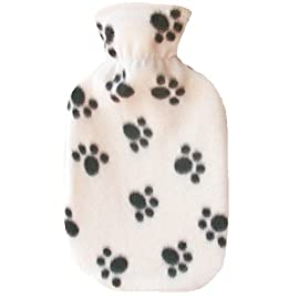 Warm Tradition PAWPRINT WHITE Fleece Covered Hot Water Bottle- Bottle made in Germany, Cover made in USA