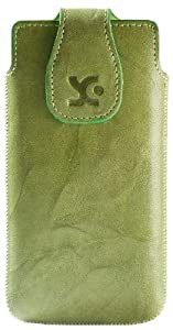 Suncase Original Echt Ledertasche für Huawei Ascend G615 und Ascend G600 (Hülle mit Magnetverschluss) in wash-grün