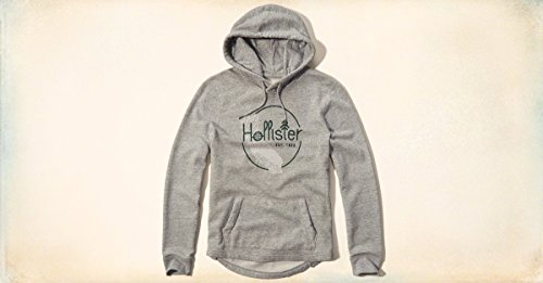 Hollister Felpa con cappuccio da uomo, taglia S, colore: grigio