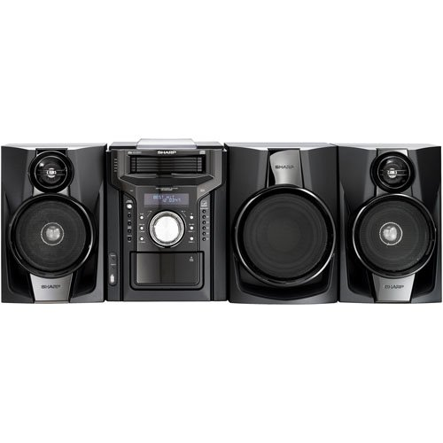 Sharp 350 Watt All-In-One Mini Component System With Ipod/Iphone Dock, 5-Disc Multi-Play Cd Changer, Full Logic Cassette Deck, Am/Fm Digital Tuner With 40 Presets, Cd-R/Rw, Mp3 And Wma Playable, 150W Subwoofer, Two Way Speakers With Bass And Treble Settin