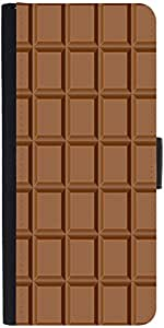 Snoogg Chocolate Graphic Snap On Hard Back Leather + Pc Flip Cover Apple Ipho...