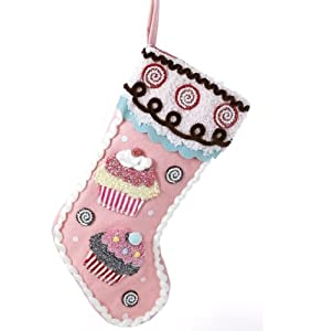 "18"" Cupcake Heaven Pink Glitter Candy and Cookies Felt Christmas Stocking"