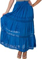 Solid Embroidered Gypsy / Bohemian Full / Maxi / Long Cotton Skirt