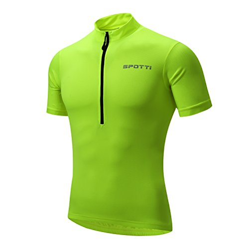 Spotti Basics Men's Short Sleeve Cycling Jersey - Bike Biking Shirt (Yellow, Chest 38-40