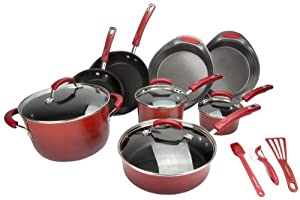 Rachael Ray 15-Piece Kitchen NonStick Hard Enamel Cookware Set Pots Pans - Red