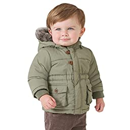 Little Youngster Baby-Boys & Kids, Long Sleeve Winter Parka Jacket with Fur Hoodie (24M, Green)