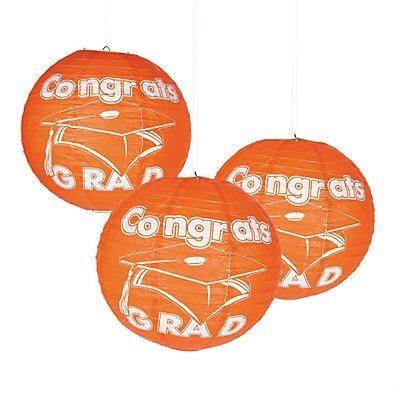Orange Congrats Grad Paper Lanterns 2 sets