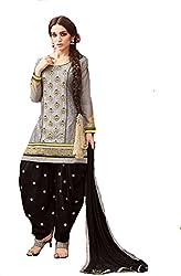 Om Creation grey Embroidered cotton Salwar Suit HS26