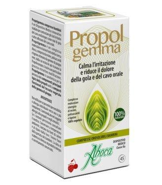 ABOCA - PROPOLGEMMA - COMPRESSE OROSOLUBILI BAMBINI proteggendo la mucosa, calma l'irritazione e riduce il dolore della gola e del cavo orale
