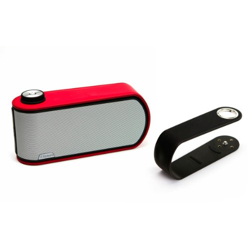 Klipsch Gig Portable Wireless Music System With Aptx Bluetooth And Additional Color Band (Black Speaker With Black And Red Color Bands)