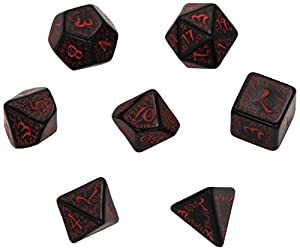 Q-Workshop Polyhedral 7-Die Set: Carved Elven Elvish Dice Set (Black with Red)