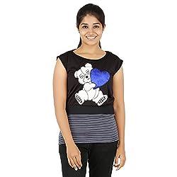 Knit Abc Garments Women's Character Top(KA-WTOP-HTB-19-BL-BL-L_Multicolor_Large)