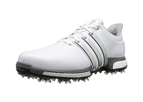 adidas Golf Men's Tour360 Boost Spiked Shoe,White/Silver/Dk Silver,11 US
