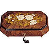 Italian Inlaid Wooden Floral Music Box - A