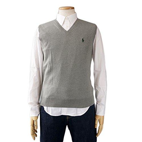(ポロ ラルフローレン)POLO Ralph Lauren メンズ ニットベスト セーター コットン ポニーマーク [並行輸入品] グレー×グリーン L