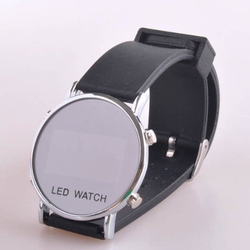 BestDealUK Sport Red LED Digital Wrist Men Watch Black Rubber Band Date Show