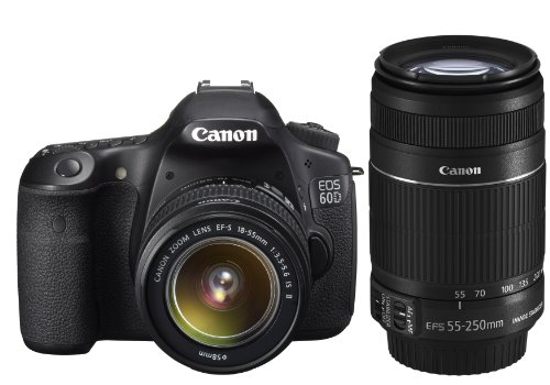 Canon EOS 60D Digital SLR Camera including EF-S 18-55 mm f/3.5-5.6 IS II and EF-S 55-250mm IS II Lens Kit