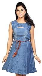 Carrel Brand Imported Denim Fabric Stylish Sleeveless A-line Short Dress/Long Top with Belt Blue Colour Women L Size.