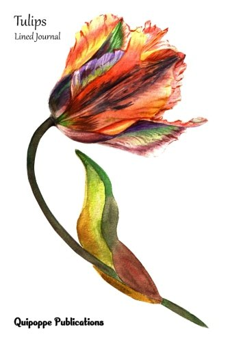 Tulips Lined Journal Medium Lined Journaling Notebook, Tulips Watercolor Multicolor Tulip Cover, 6x9, 130 Pages [Publications, Quipoppe] (Tapa Blanda)