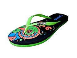 Generic Gamon Womens Green Rubber Flipflops-6 UK