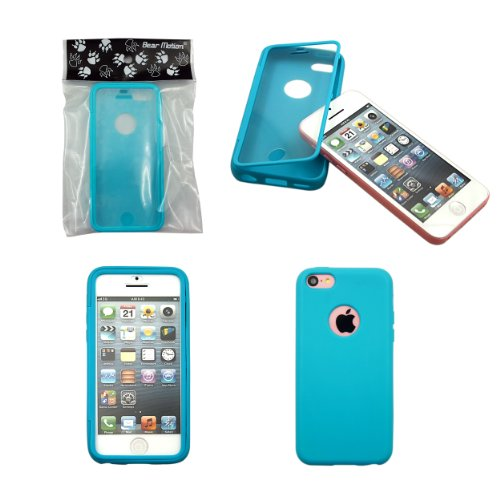 Bear Motion (TM) Premium Full Housing Case for iPhone 5C with Front and Back Protection and Built in Screen Protector for Apple iPhone 5C (Blue) (Full Housing Iphone 5c Case compare prices)