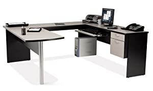 Bestar In Space U-Shape Home Office Wood Computer Desk Workstation in Granite and Charcoal
