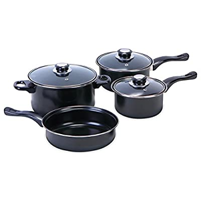 Euro Home Non-Stick Black Cookware 7-piece Set With Lid