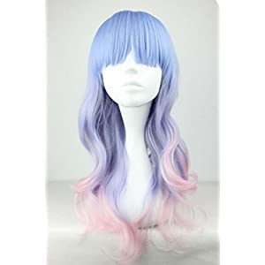 Fashion Women Long Multicolor Wavy Harajuku Style Cosplay Wig (Light Blue/ Light Purple/ Pink) NW20-2