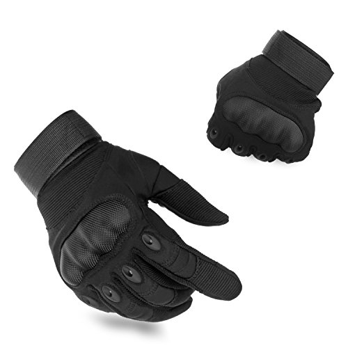 KevenAnna Full Finger Cycling Motorcycle Gloves Outdoor Tactical Gloves for Military Gear Men's Military Gloves for Army Tactical Gear (1-Black, Medium)