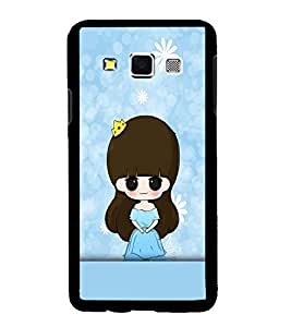 Fuson Premium Blue Little Girl Metal Printed with Hard Plastic Back Case Cover for Samsung Galaxy A3