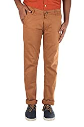 Bdow Men's Casual Chinos Trouser (Cotton matted fabric) (Brown, 30)