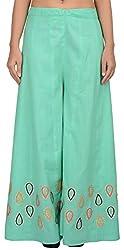 Simple Kaur Women's Silk Ethnic Bottom (simplekaur_0030--S, Green, Small)