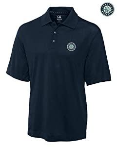 Seattle Mariners Mens DryTec Championship Polo Shirt Navy Blue by Cutter & Buck