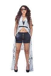 Nikita Mhaisalkar Black Tree Of Life Georgette Print Cape/Black Neoprene Boostier/Black Neoprene Shorts/Emblished Belt