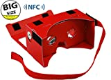 **BIGGER VERSION** I AM CARDBOARD® 45mm Focal Length Virtual Reality Google Cardboard with Printed Instructions and Easy to Follow Numbered Tabs (WITH NFC) - Perfect fit for Samsung Galaxy Note 2 and Note 3 (Red)
