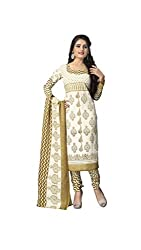 Madhav FashionSemi-stitched Salwar Suit Dupatta Material in White