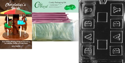 Cybrtrayd 'Small Baby Block' Baby Chocolate Candy Mold With Chocolatier'S Bundle, Includes 25 Cello Bags, 25 Pink Twist Ties And Chocolatier'S Guide front-768197