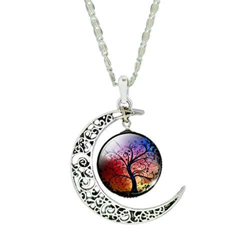 Jiayiqi Women Colorful Art Tree Picture Round Glass Time Gemstone Half Moon Chain Statement Necklace