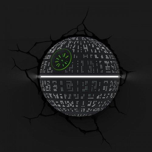 3d Deco Light Fx Lampada da Parete Disney Star Wars with Crack Sticker con Adesivi Death Star