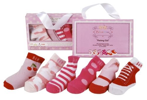 Bibi And Mimi Baby-Girls 6 Pairs Variety Socks, Pink/Multi, One Size front-753891