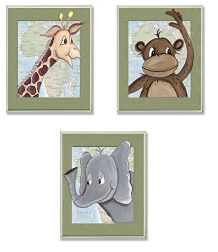 The Kids Room by Stupell Elephant, Giraffe, Monkey 3-Pc Rectangle Wall Plaque Set