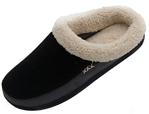 Vonmay Men's Wool Plush Fleece Lined Slip On Memory Foam Clog House Slippers Indoor / Outdoor (11-12 D(M) US, Black/Gray)