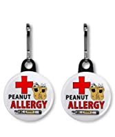 PEANUT ALLERGY EPIPEN Medical Alert Pair of 1 inch Black Zipper Pull Charms from Creative Clam