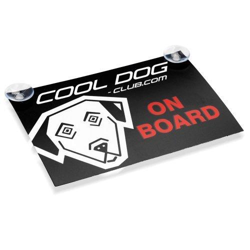 """Cool Dog Auto Aufkleber - Slogan 1 """"Cool Dog on Board"""" (Schwarz / Rot / Weiß)"""