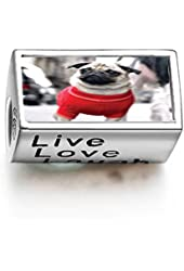 Fervent Love Dressed Up Pug Words Live Love Laugh Bead Charm