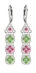 Lucia Costin Silver, Pink, Light Green Swarovski Crystal Earrings, Fascinating